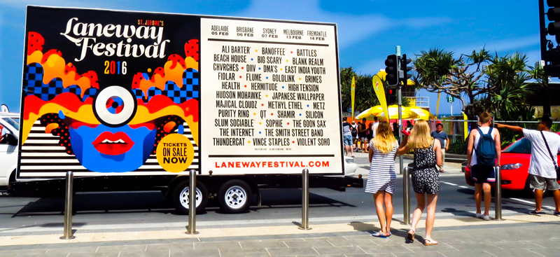 A photograph of an Outdoor Advertising Billboard by The Mobile Billboard Company taken in Australia